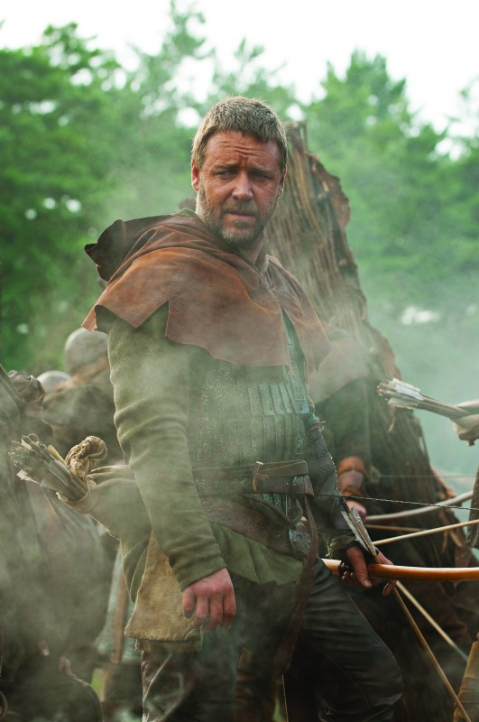 Russell Crowe in una sequenza del film Robin Hood