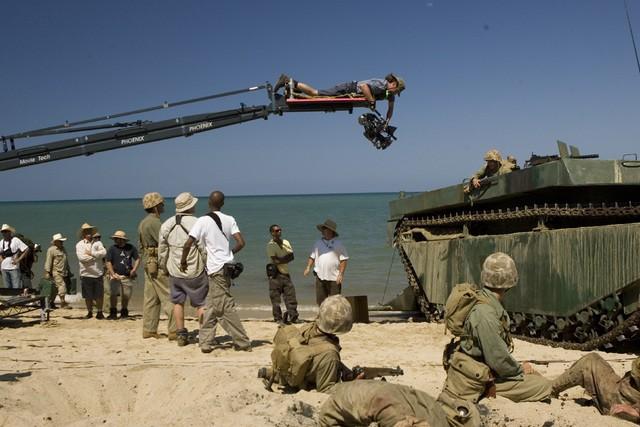 Un'immagine dal set della miniserie The Pacific