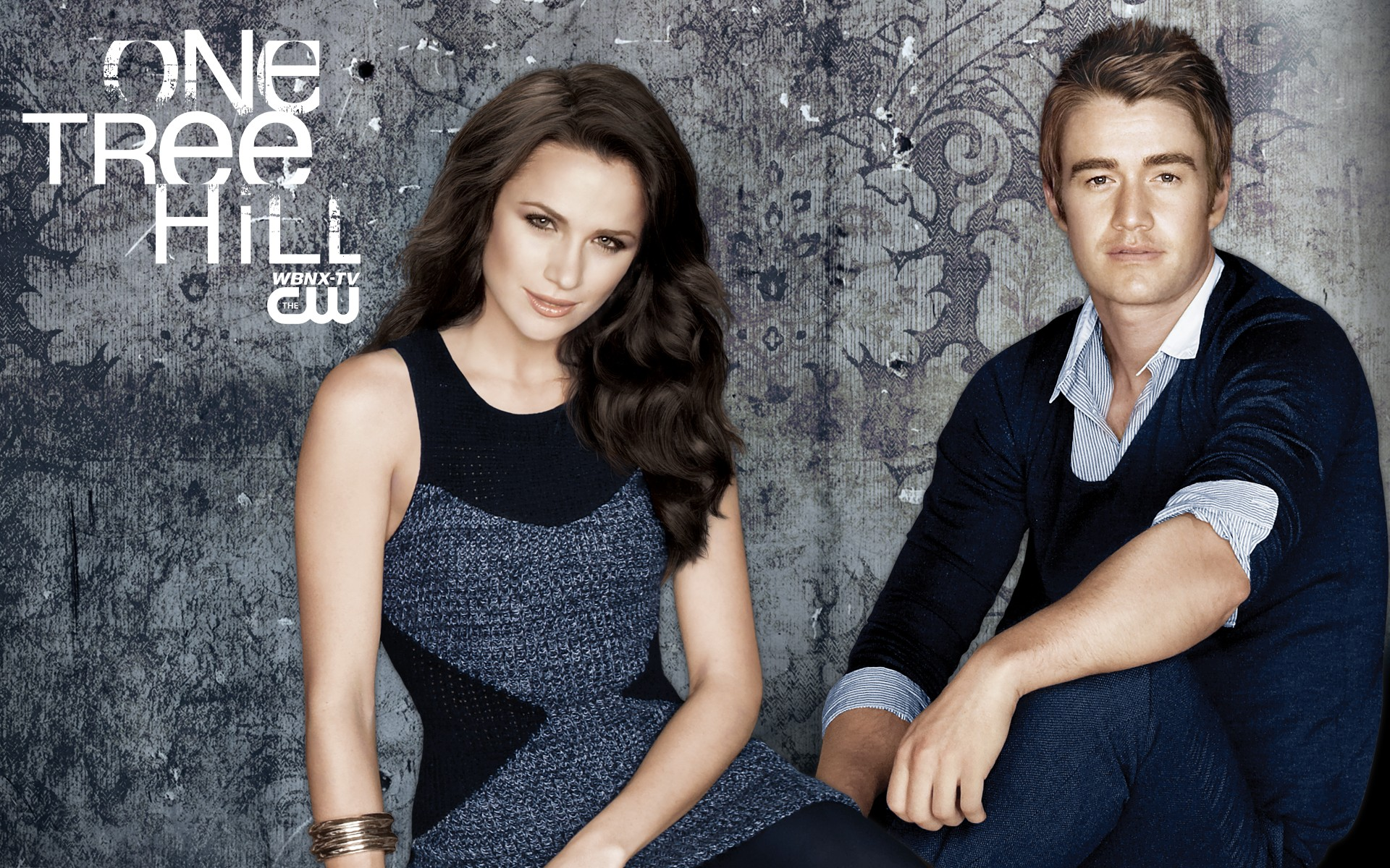 Un wallpaper di Shantel VanSanten e Robert Buckley per la stagione 7 di One Tree Hill