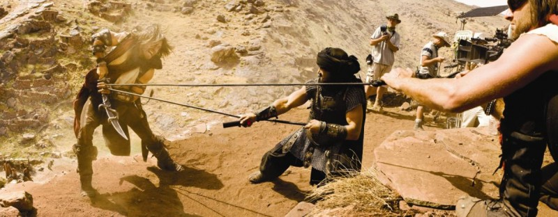 Jake Gyllenhaal sul set del film Prince of Persia: The Sands of Time