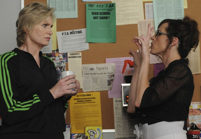 Jane Lynch e Molly Shannon nell'episodio Bad Reputation di Glee