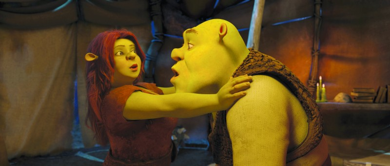 Shrek e l'amata Fiona nel film Shrek e vissero felici e contenti