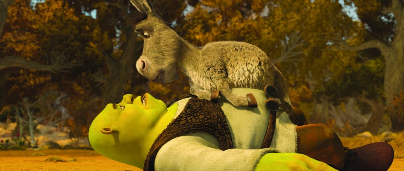 Shrek e l'inseparabile Ciuchino nel film Shrek e vissero felici e contenti