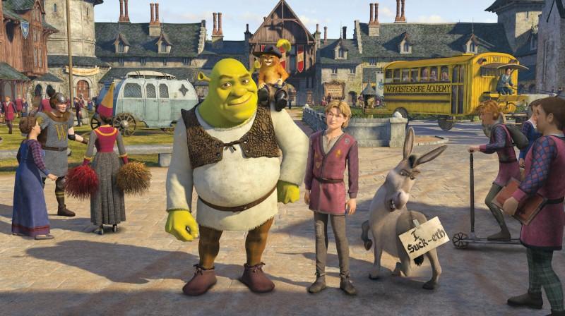Un'immagine del protagonista verde bile di Shrek terzo
