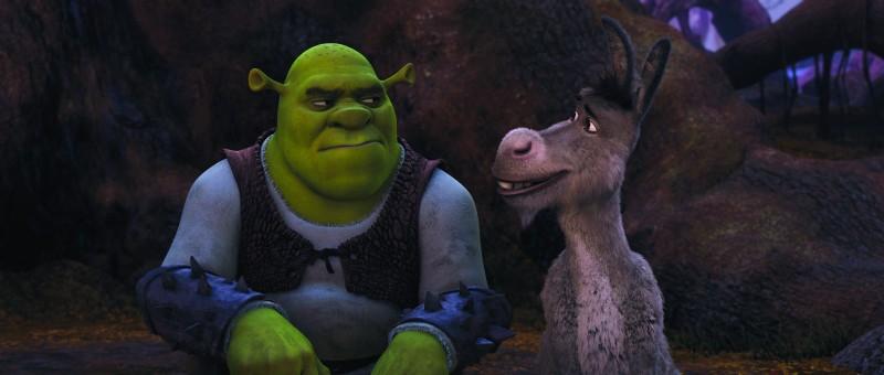 Un perplesso Shrek in compagnia di Ciuchino nel film Shrek e vissero felici e contenti