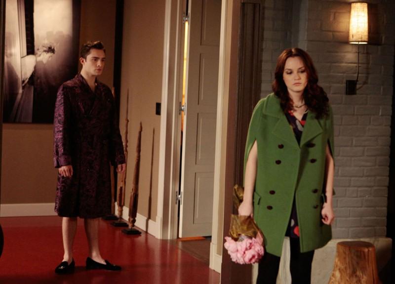 Ed Westwick e Leighton Meester in crisi in una scena dell'episodio Last Tango, Then Paris di Gossip Girl