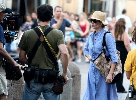 Julia Roberts sul set di Eat, Pray, Love a Roma