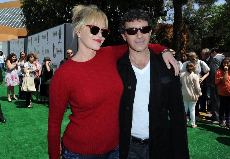 Melanie Griffith e Antonio Banderas alla premiere di Los Angeles del film Shrek e vissero felici e contenti