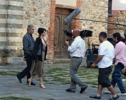 Juliette Binoche e William Shimell sul set del film Copia conforme