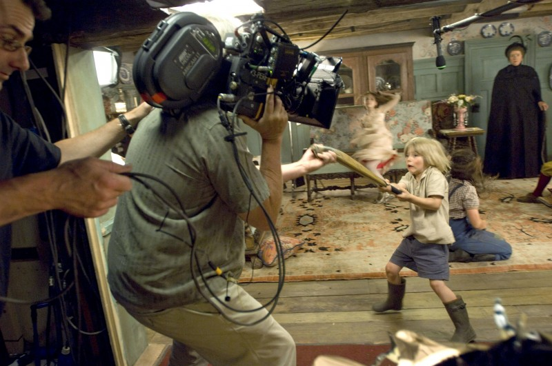 Un'immagine dal set del film Tata Matilda e il grande botto