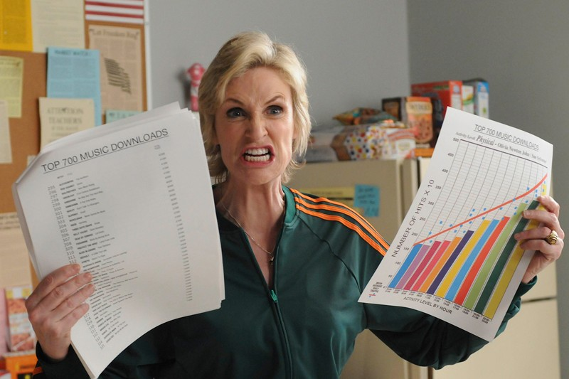 Sue Sylvester (Jane Lynch) nell'episodio Bad Reputation di Glee