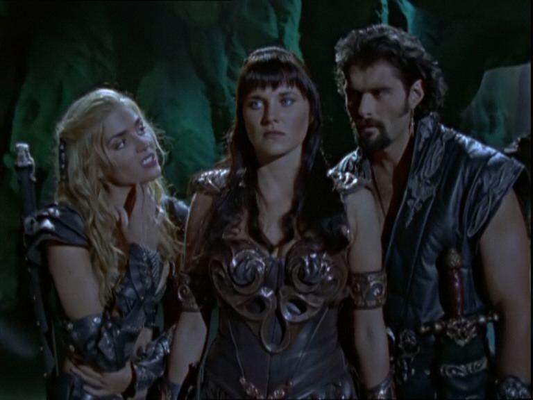 Kevin Smith Lucy Lawless e Hudson Leick nell'episodio Xena contro Callisto e Marte