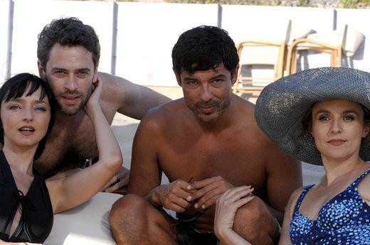 Maria De Medeiros, Massimo Poggio, Alessandro Gassman e Michela Cescon sul set del film Il compleanno