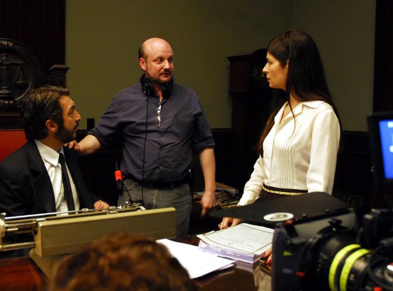 Ricardo Darín,il regista Juan José Campanella e Soledad Villamil sul set del film Il segreto dei suoi occhi