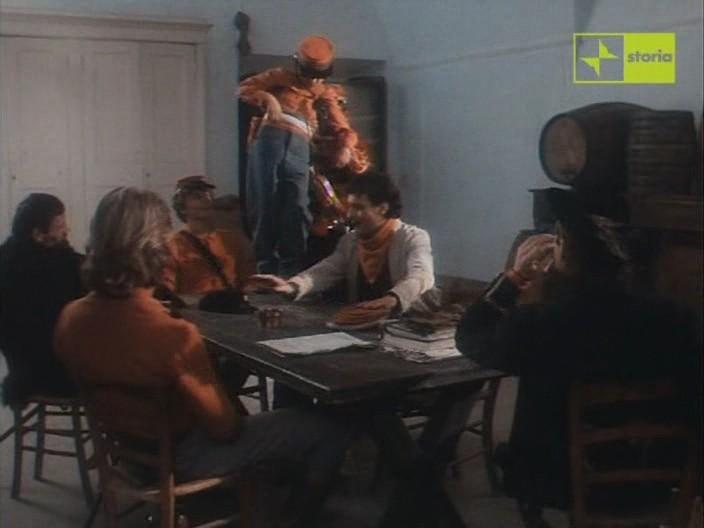 Antonio Orfanò con Kim Rossi Stuart (di spalle a sinistra) e Antonio Marsina (di spalle a destra) in una scena del film Garibaldi The General