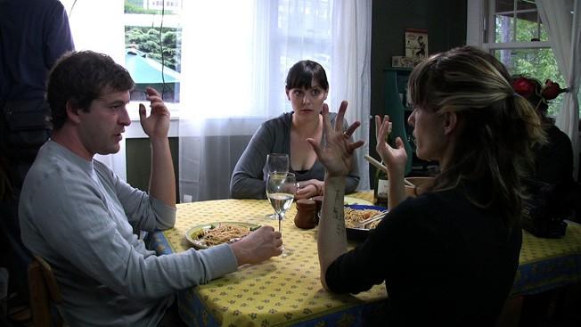 Mark Duplass, Alycia Delmore e Lynn Shelton sul set del film Humpday