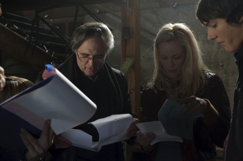 Joe Dante con Chris Massoglia e Teri Polo sul set del film The Hole in 3D