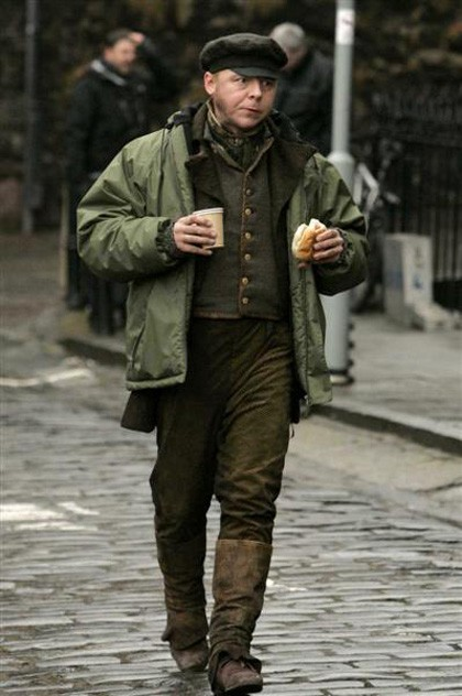 Simon Pegg sul set di Burke and Hare