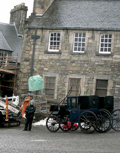 Un'immagine dal set del film Burke and Hare a Edimburgo