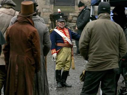 Un'immagine delle riprese del film Burke and Hare a Edimbrugo