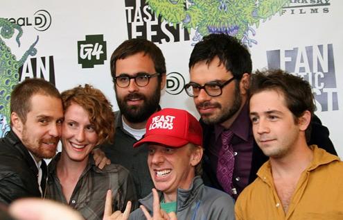 Sam Rockwell, Michael Angarano, Jemaine Clement e il regista Jared Hess presentano Gentlemen Broncos al Fantastic Fest