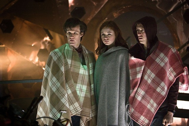 Arthur Darvill, Matt Smith e Karen Gillan nell'episodio Amy's Choice di Doctor Who