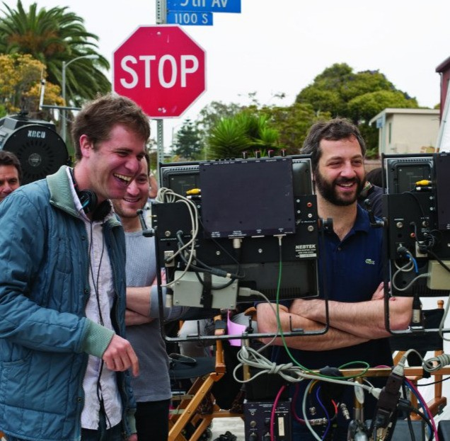 Judd Apatow, Rodney Rothman e Nicholas Stoller sul set di Get Him to the Greek