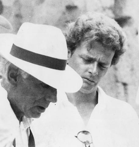 Luigi Patrizi sul set de La Storia con Luigi Comencini