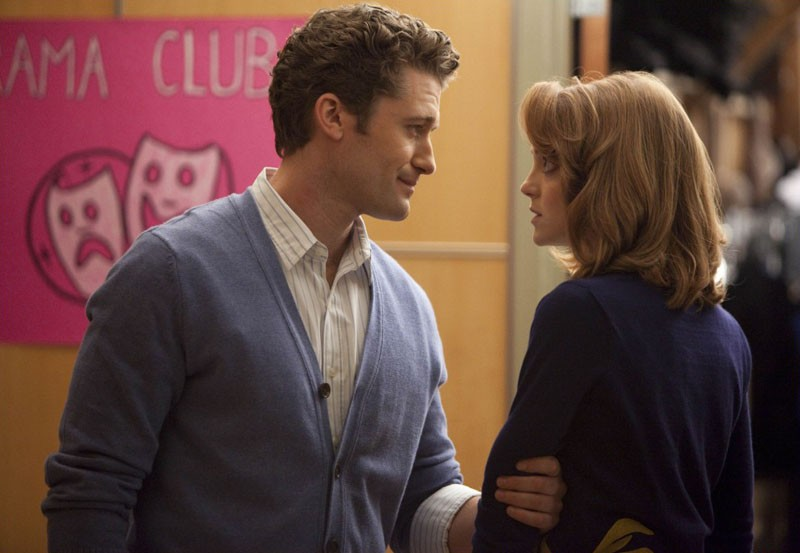 Will (Matthew Morrison) discute con Emma (Jayma Mays) in una scena dell'episodio Journey di Glee