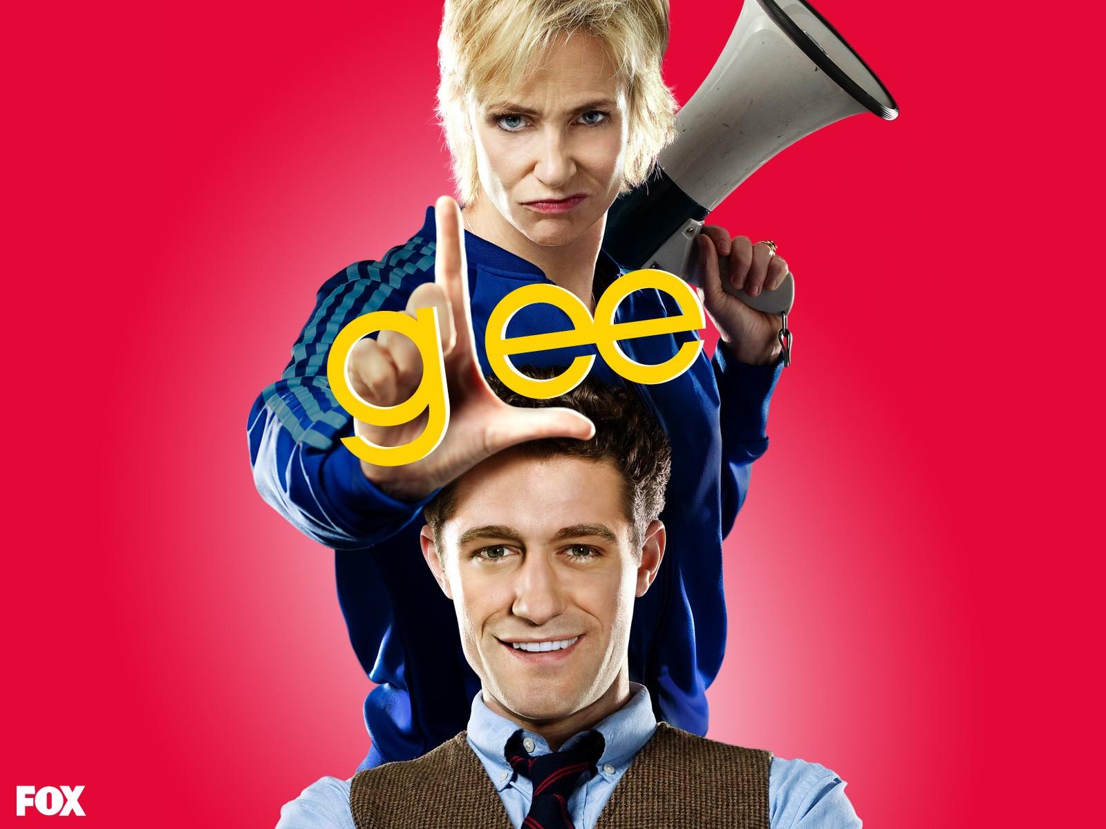 Un wallpaper di Jane Lynch e Matthew Morrison per la stagione 1 di Glee