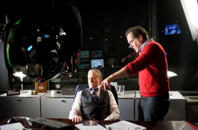 Michael Douglas e Oliver Stone sul set di Wall Street 2: Money Never Sleeps