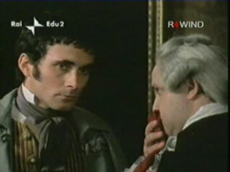 Antonio Orfanò accanto a Renato Scarpa in una scena di La Certosa di Parma regia di Mauro Bolognini