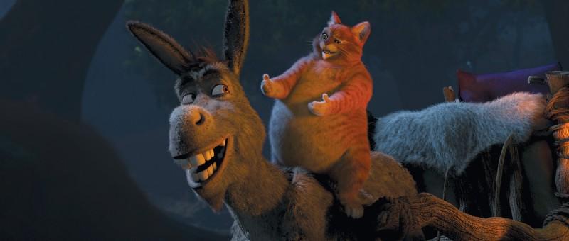 Ciuchino e Gatto con gli Stivali nel film Shrek e vissero felici e contenti