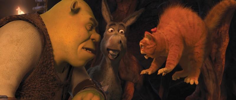 Shrek, Ciuchino e Gatto con gli stivali nel film Shrek e vissero felici e contenti
