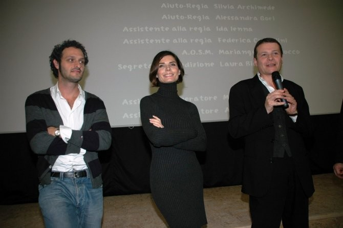 Fabio Troiano e Chiara Muti con il regista Carlo Sarti all'anteprima di Goodbye, Mr. Zeus!