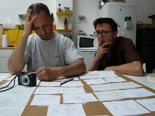 I registi Stephane Aubier e Vincent Patar lavorano alla realizzazione del film A Town Called Panic