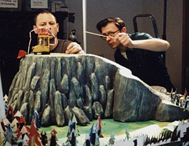 I registi Stephane Aubier e Vincent Patar sul set del film A Town Called Panic