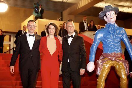 Stephane Aubier, l'attrice Jeanne Balibar e Vincent Patar presentano A Town Called Panic al Festival di Cannes (2009)