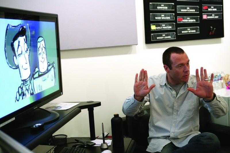 Un'immagine degli animatori a lavoro sul set di Toy Story 3