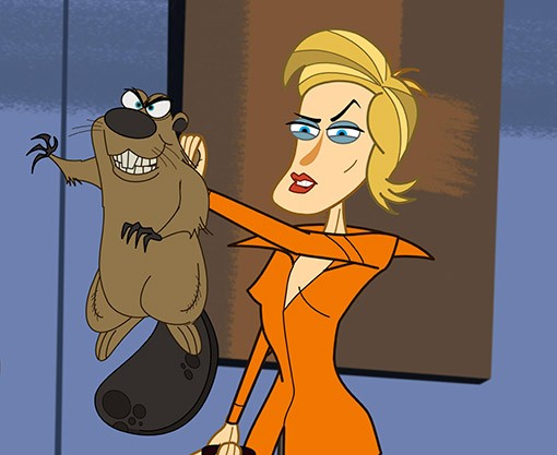 Il personaggio interpretato da Jane Lynch in un momento dell'episodio Screw the EPA di Neighbors from Hell