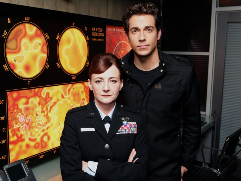 Bonita Friedericy e Zachary Levi in una foto promo per l'episodio Chuck Versus the Subway