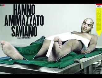 Roberto Saviano nel controverso fotomontaggio apparso sul magazine Max, nel 2010.