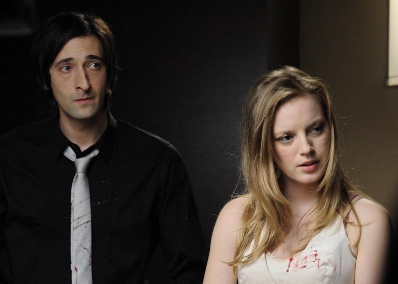 Un'immagine del film Splice con Adrien Brody e Sarah Polley