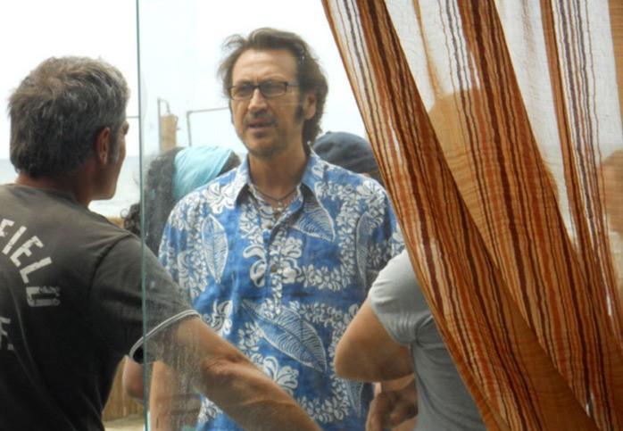 Marco Giallini sul set della commedia Tutti al mare
