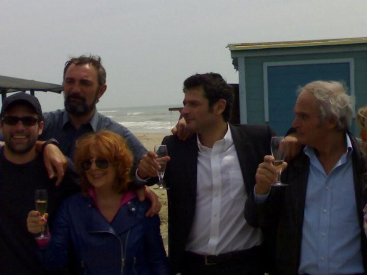 Una foto fatta sul set del film Tutti al mare