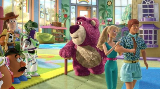 Alcuni dei protagonisti di Toy Story 3: Buzz, Woody, Lotso, Barbie e Ken