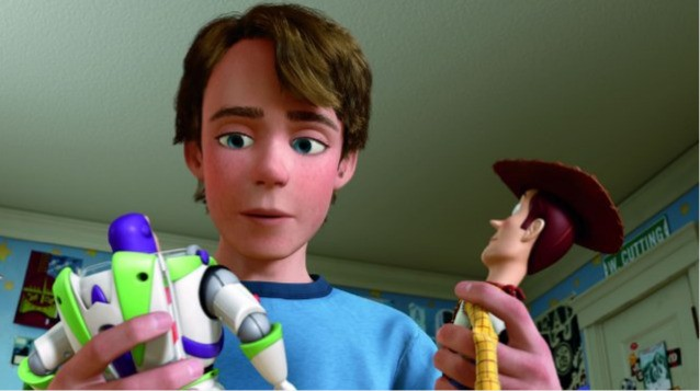Andy con Buzz e Woody in Toy Story 3