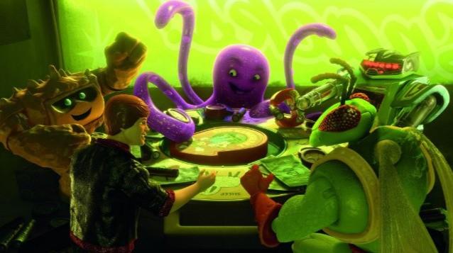 Chunk, Stretch, Sparks, Twitch e Ken in una scena di Toy Story 3