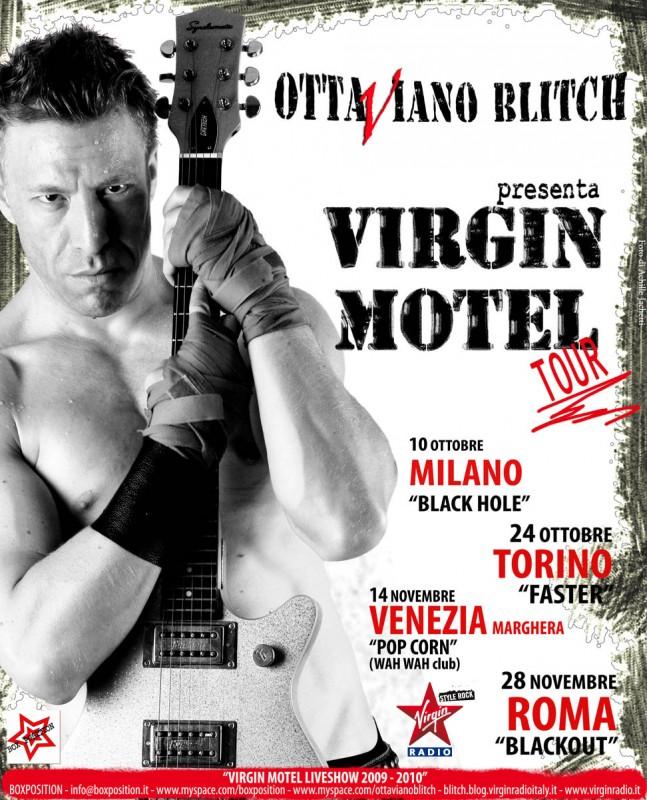 Ottaviano Blitch in un\'immagine pubblicitaria del suo Virgin Motel Tour, con le date.