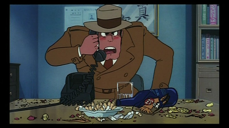 L\'ispettore Zenigata in una scena del film d\'animazione Lupin III: Il castello di Cagliostro